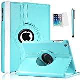 ULAK 360 Rotating Flip PU Leather Smart Case Cover for Apple iPad mini and the Apple New iPad mini2 with Retina Display with Auto Wake/Sleep Function and Screen Protector (Aqua Blue)