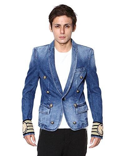 (バルマンオム) BALMAIN HOMME ショールカラー デニムジャケット BLUE ブルー BLUE S5HT703C800B 155 [並行輸入品]