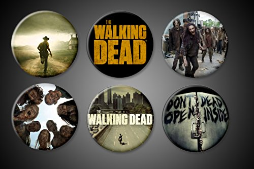 The Walking Dead Magnets TV Series Zombie Show Set of 6 Walkers Biters Rick Title Atlanta fridge magnets or lockers boards....1 inch round buttons