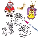 Christmas Wiggle-Eye Stained Glass Decorations for Children to Embellish and Hang (Pack of 6)