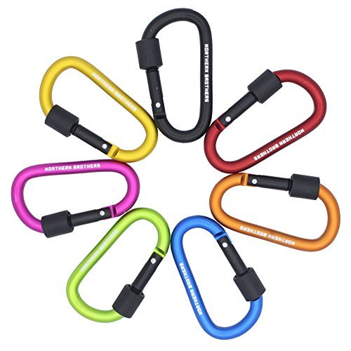 D Ring Locking Carabiner Keychain ,7PCS Northern Brothers Aluminum Spring Clip Carrying Gear Lock Buckle Key Holders Hook Outdoor Camping