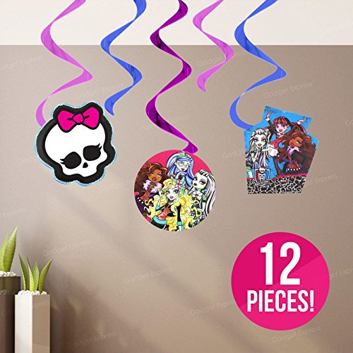 NEW 12 pezzi Kit Vortici Foil Card Cutouts Decorazioni di Monster High, Frankie Stein, Ghoulia Yelps, Clawdeen Wolf, Lagoona Blu, Draculaura, Logo, vampiro, Artiglio, Bolt - Ultimate decorazioni per Halloween e compleanni