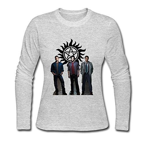 Girl Quotes Ring Spun Cotton Supernatural Dean Sam Winchester Long Sleeve T-Shirt Gray US Size XL (Dean Quotes compare prices)
