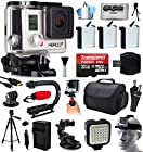 GoPro HERO3+ Hero 3+ Silver Plus Edition Action Camera Camcorder with Ultimate Accessory Bundle includes 32GB MicroSD + 3x Batteries + Large Case + Stabilizer + Tripod + LED Video Light (CHDHN-302)