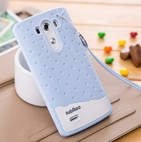 Big Mango Super Cute Ice Cream Design Soft Silicone Rubber Skin Back Case Cover for LG G3 with Wristlet Strap -Light Blue ( With Free Big Mango Logo Neck Strap ) (Lg G3 Rubber Case compare prices)