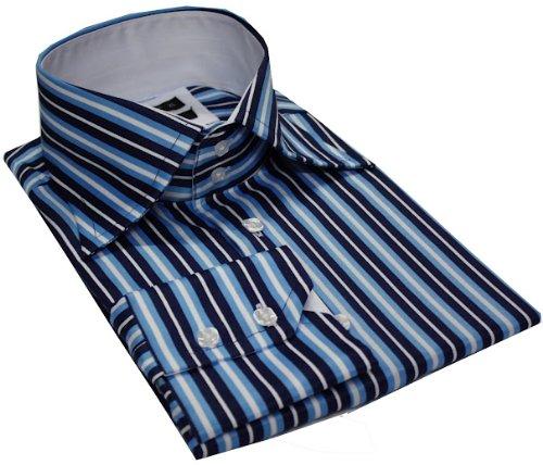 Mens formal & casual italian design shirts Turquise colour strips slim fit