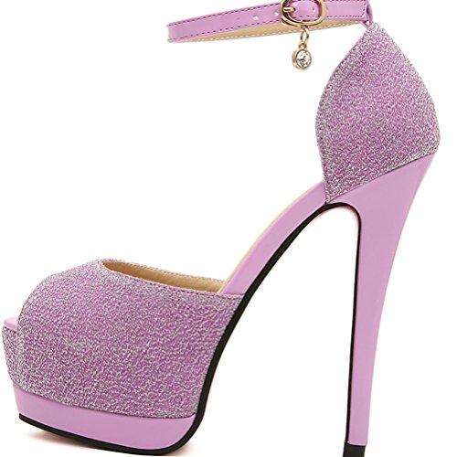 VU*LK Signore di lusso puro colore in estate una fibbia tacco a spillo piattaforma sandali platform bocca di pesce , purple , 36