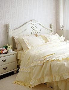 Shabby and Elegant Light Yellow Lace/ruffle Duvet Cover Bedding Set,king Size
