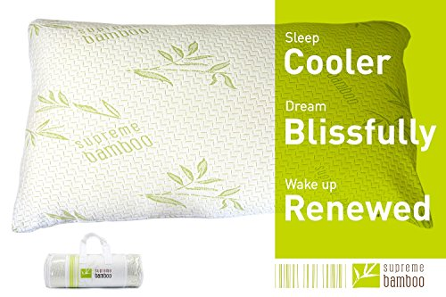 New Bamboo Pillow Queen Size Adjustable Memory Foam Engineered For Maximum Sleep Comfort With Premium Quality Ultra Soft Bamboo Fabric Washable Zipper Case (Queen)