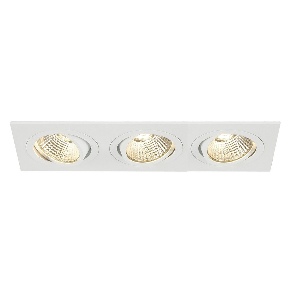 SLV LED Deckeneinbaustrahler New Tria 3 DL Square Set, COB, 2700K, 38 Grad, inklusiv Treiber, Clipfedern, weiß 114201