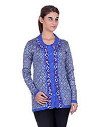 eWools Women's Blue Wool Sweater (749-eWools-Medium)