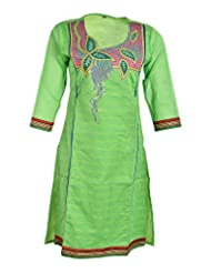 Global Women's Cotton Straight Kurta (GW12GreenL015, Green, L)