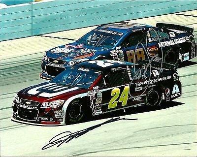 2014 Dale Earnhardt Jr & Jeff Gordon Dual Signed Superman NASCAR 8x10 Photo COA - Autographed Photos