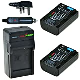 ChiliPower Sony NP-FH50, NP-FH40, NP-FH30 Kit: 2x Battery (800mAh) + Charger (UK Plug) for Sony Alpha DSLR-A290, DSLR-A330, DSLR-A390, Cyber-shot DSC-HX1, DSC-HX100V, DSC-HX200V, DCR-DVD108, DCR-DVD308, DCR-DVD808, DCR-DVD810, DCR-DVD905, DCR-SR47, HDR-C