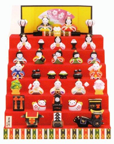 【雛人形/ひな人形】出産祝い お雛様 陶器 桃の節句 雛祭り 内祝い 誕生日お祝い 大人女子もひな祭り 錦彩花かざり雛 七段飾り