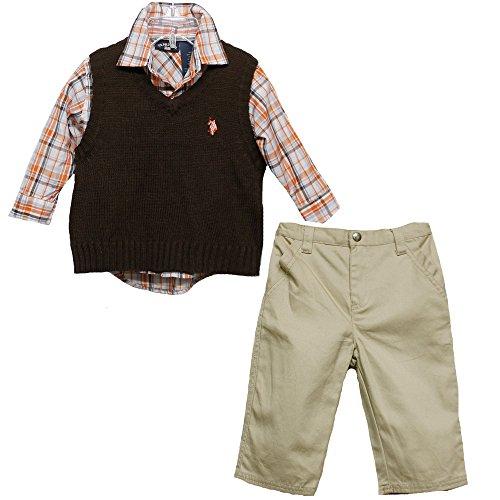 U.S. Polo Assn Vest 3 Piece Set For Toddler Boy, Coffee Bean, 18M