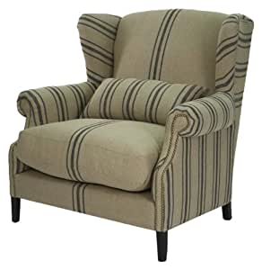 zentique napoleon half wingback chair blue stripe kitchen dining. Black Bedroom Furniture Sets. Home Design Ideas