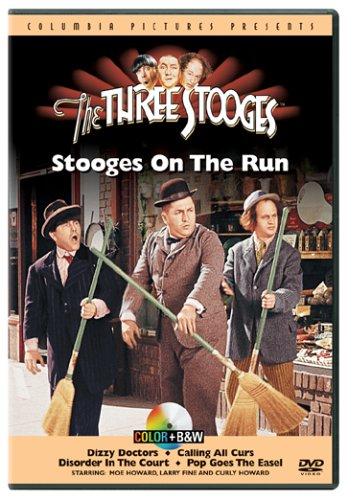 Colorized scene from the Three Stooges short film, 'Pop Goes the Easel'