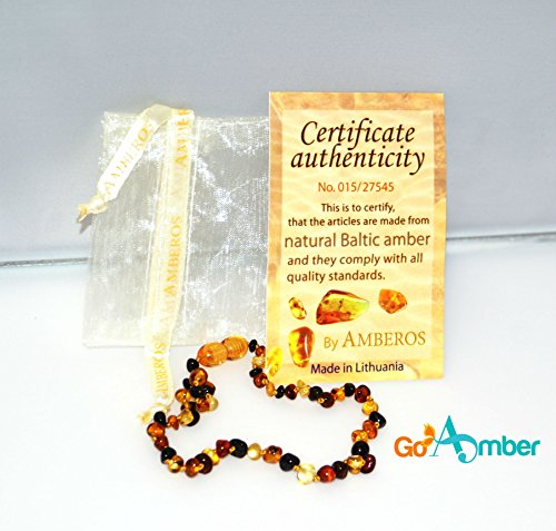 Authentic Best Baltic Amber Teething Necklace For Baby Toddlers (Multi-Color) - GoAmber - SAFETY KNOTTED* -(Unisex) - Certified Baltic Amber Baby Teething Necklace Highest Quality Guaranteed- Anti Inflammatory, Drooling & Teething Pain. Natural Remedy - Baby Jewelry -Easy to Fasten with a Twist-in Screw Clasp Mothers Approved Remedies! Baby Registry - Alternative To Teething Toys - Great Baby Gift - Certificate Of Authenticity Included.