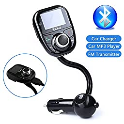 KEKU Univeral LCD Display Bluetooth Wireless Car MP3 Player FM Transmitter Modulator Radio Adapter Handsfree Car Kit with Hands-Free Calling Music Control Mic