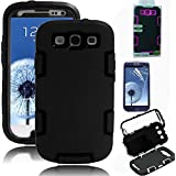 Galaxy S3 Case, EC™ 3in1 Shockproof Case, Hybrid Armor Rubber Combo Impact Silicone Case Cover for Samsung Galaxy S3 i9300 with Screen Protector and Stylus (C1-Black/Black)