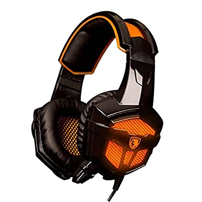 Gaming Headset KOTION EACH 3.5mm Game Headphone Earphone Headband with Mic Stereo Bass LED Lighting for PlayStation4 PS4 Tablet Laptop PC Mobile Phones Smartphones