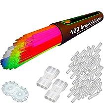 100 Arm-Knicklichter der Spitzenklasse, KNALLBUNT - 7 Farbmix (205x5mm) inkl. 100 TopFlex-, 2 Dreifach- und 2 Ball-Verbindern, deutsche Prüfnote 1,4  Von Knicklichter.com