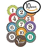 """Huge Sale! Stick'Nsnap(TM) 12 """"Happy Colors"""" Milestones First Year Monthly Growth Stickers For Baby Boy Or Girl..."""