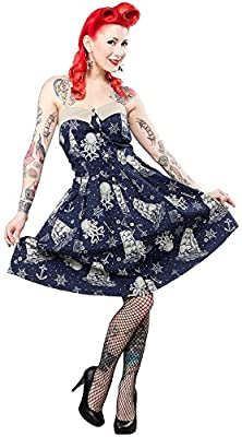 Sourpuss Walk the Plank Dress in Navy Nautical Octopus Retro 50's