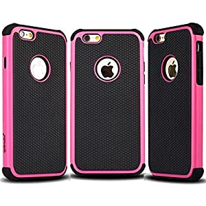 Splendid(TM), For iPhone 6/6s case, iPhone 6/6s black and hot pink case, tough armor hybrid triple layer ballistic high impact resistant shockproof protective hard plastic soft silicone case cover. (Hot Pink Defender i6/6s)