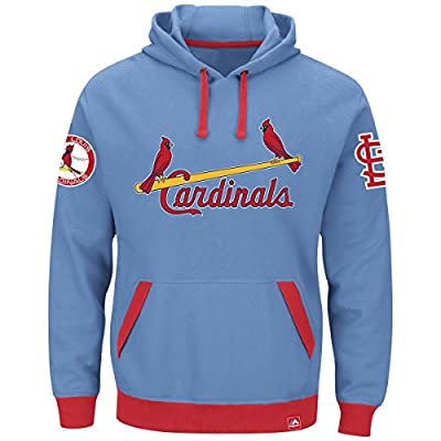 MLB St. Louis Cardinals Coastal Blue Majestic Reach Forever Cooperstown Hoodie Sweatshirt