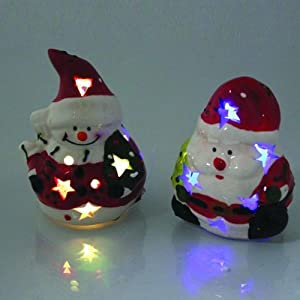 Ceramic Christmas Character with Colour Changing Light
