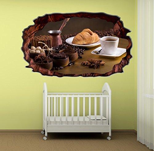 3d wandtattoo kaffee tasse k che coffee bohnen wandbild. Black Bedroom Furniture Sets. Home Design Ideas