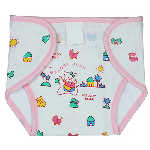 Square Brand Premium Quality Baby Joy Pack Of 3 , Printed Pink, Multisize, Padded Cushioned Muslin Double Cotton Thick Cloth Washable Reusable Padded Cushioned Diaper/Langot Nappies With Velcro Very Comfortable For Babies.