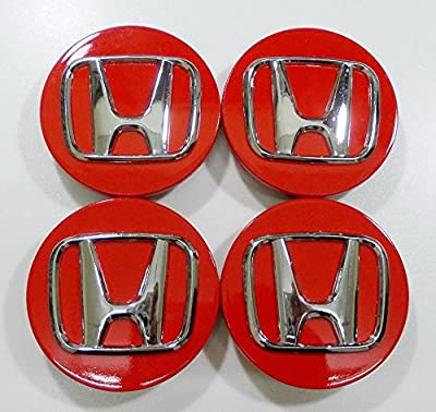 New REPLACEMENT PART: 4pcs. Honda CRV Accord Civic Odyssey Element Pilot Fit Center Cap Hub Wheel Caps RED