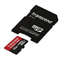 Transcend 32GB MicroSDHC Class 10 UHS-1 Memory Card with Adapter Up to 60MB/s (TS32GUSDU1PE)