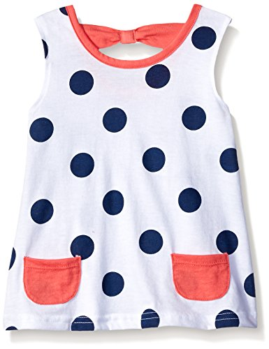 Gerber Graduates Girls Sleeveless Top with Bow Back, White Polka Dot, 12 Months