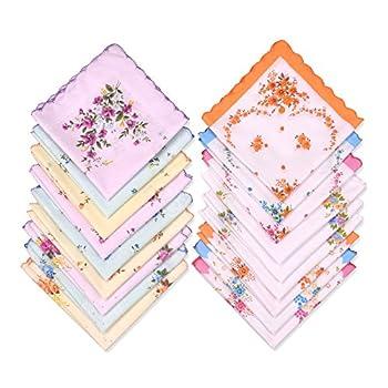Milesky Women's Handkerchiefs Vintage Floral Print Thickened Cotton