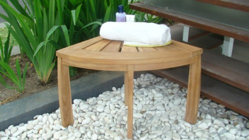 New Grade A All Teak Wood Corner Seat Shower Bench / Stool