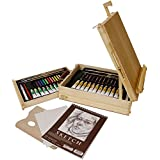 """US Art Supply® 62-Piece Wood Box Easel Painting Set- Including Box Easel, 12-tubes of Acrylic Paint Colors, 12-Artist Pastels, 3 Assorted Acrylic Painting Brushes, Wood Palette, Plastic Palette Knife & Hb Pencil, 12-tubes of Oil Paint Colors, 12-Oil Pastels, Plastic Palette Knife, 3 Assorted Oil Painting Brushes, 2 - 8"""" x 10"""" Canvas Panels, 9"""" x 12"""" Sketch Pad"""