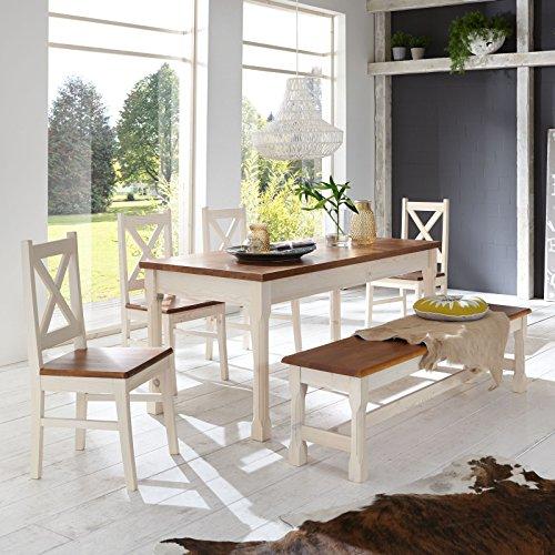 Essgruppe-KRETA-Essecke-Pinie-Set-Esstisch-4-Sthle-Bank-Massiv-Holz-Garnitur