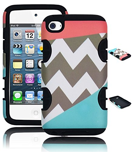 Bastex Heavy Duty Hybrid Case For Apple Ipod Touch 4 - Black Silicone Cover With Coral Pink, Teal & Gray Chevron Print Hard Shell front-794109