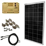 WINDYNATION Complete Solar 100 Watt Panel Kit: 100W Solar Panel + 20A LCD Display PWM Charge Controller + MC4 Connectors + Mounting Z Brackets for 12V Battery off grid, RV, Boat
