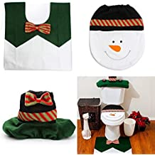 Alcoa Prime 3pcs Christmas Decorations Happy Snowman Toilet Seat Cover Rug Bathroom Set