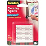 Scotch(R) Removable Mounting Squares , 1 x 1 Inches, 16 squares ,Grey, 2-PACK
