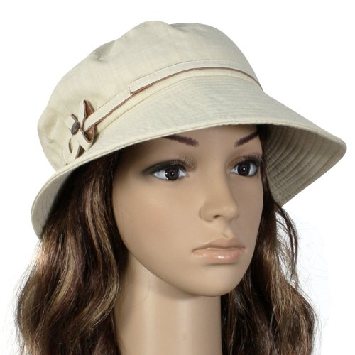 Safari Bow Tie Button Bucket Sun Hat - Tan