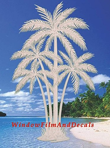 Oval Palm Tree Etched Window Decal Vinyl Glass Cling - 8