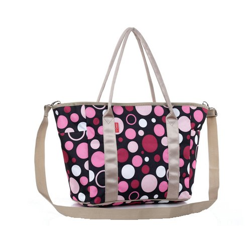Ecosusi Designer Fashion Diaper Tote Bags W/ Shoulder Strap (Black Polka Dot) front-3202