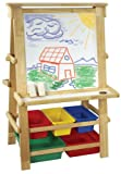 Natural Wood Easel with Plastic Bins