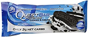 Quest Nutrition Protein Bar, Cookies and Cream, 2.12 oz Bars, 12 Count